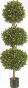 One 66 inch Outdoor Artificial Boxwood Triple Ball Topiary Tree Potted UV Rated Plant