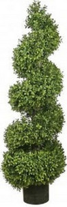 One 46 inch Outdoor Artificial Boxwood Wide Spiral Topiary Tree Potted UV Rated Plant