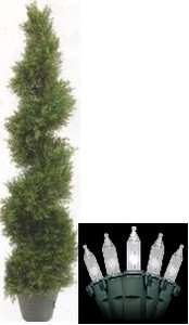 One 4 foot 3 inch Outdoor Artificial Cedar Cypress Spiral Topiary Tree UV Rated Potted Plant with Holiday Lights