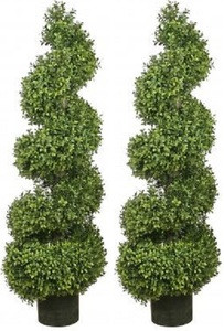 Two 46 inch Artificial Wide Boxwood Spiral Topiary Trees UV Rated
