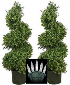 "TWO 36"" ARTIFICIAL WIDE BOXWOOD IN OUTDOOR TOPIARY TREE PLANT ARRANGEMENT SPIRAL PATIO WITH CHRISTMAS LIGHTS"