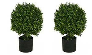 Two 20 inch Artificial Boxwood Topiary Ball Bushes Potted