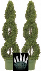 Two 4 foot Outdoor Artificial Cedar Double Spiral Topiary Trees Potted UV Rated Plants With Christmas Lights