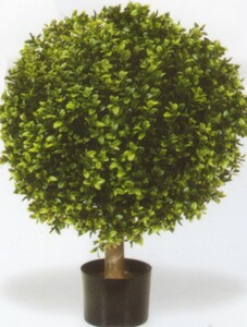 Artificial Boxwood Ball Bush Potted 32 inch One UV Rated