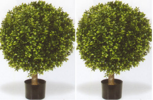 Artificial Boxwood Ball Bushes Potted 32 inch Two UV Rated