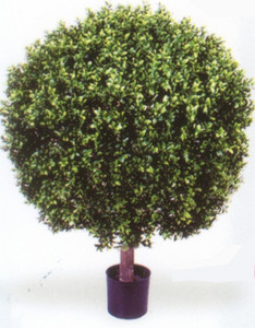 One 35 inch Outdoor Artificial Boxwood Ball Topiary Potted UV Rated