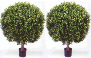 Outdoor Artificial Boxwood Topiary Ball Bushes Potted 35 inches Tall Two UV Rated