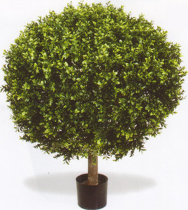 Outdoor Artificial Boxwood Topiary Ball Bush Potted 38 inches Tall One UV Rated