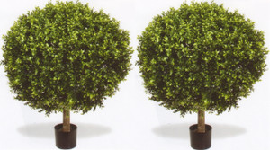 Outdoor Artificial Boxwood Topiary Ball Bushes Potted 38 inches Tall Two UV Rated
