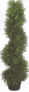 One 3 foot Outdoor Artificial Cedar Cypress Spiral Topiary Tree Potted UV Rated Plant