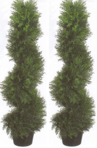 Outdoor Artificial Cypress Spiral Topiary Trees 3 foot Potted Two