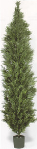 One 10 foot Outdoor Artificial Italian Cedar Topiary Tree Potted UV Rated Plant