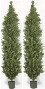Artificial Cedar Outdoor Topiary Trees 10 foot Two Potted UV Rated
