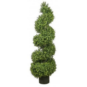 One 56 inch Outdoor Artificial Boxwood Spiral Topiary Tree UV Rated Potted Plant