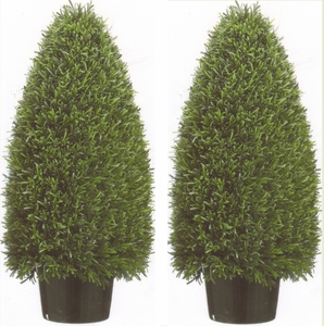 Artificial Rosemary Cone Topiary Bushes 36 inch Tall Two Plants UV Rated
