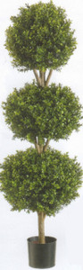 Artificial Boxwood Triple Ball Topiary Tree 78 inch Tall Potted UV Rated 6.5 foot