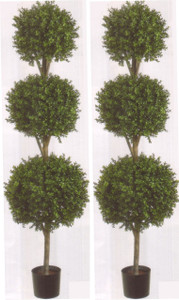 Artificial Boxwood Triple Ball Topiary Trees 78 inch Tall Two Potted UV Rated