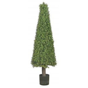 One 50 inch Artificial Wide Boxwood Cone Topiary Tree Potted