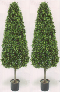 "Two 56 inch Artificial Boxwood Cone 20"" Wide Outdoor Topiary Trees Potted UV Plants"