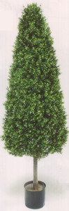 One 56 inch Artificial Boxwood Cone Wide Outdoor Topiary Tree Potted UV Plant