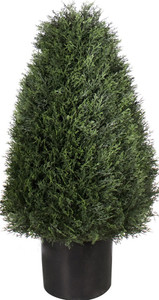 One 30 inch Artificial Cedar Cypress Wide Cone Outdoor Topiary Bush Potted UV Plant