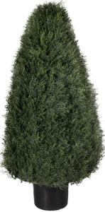 One 36 inch Outdoor Artificial Cedar Cypress Wide Cone Topiary Bush Potted UV Plant