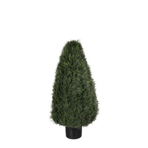 One 42 inch Outdoor Artificial Cedar Cypress Wide Cone Topiary Bush Potted UV Plant
