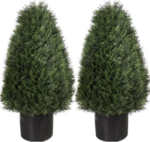 Two 30 inch Artificial Cedar Cypress Wide Cone Outdoor Topiary Bushes Potted UV Plants