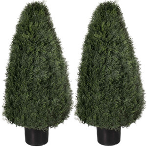 Two 36 inch Artificial Cedar Cypress Wide Cone Outdoor Topiary Bushes Potted UV Plants