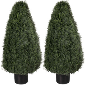 Two 42 inch Artificial Cedar Cypress Wide Cone Outdoor Topiary Bushes Potted UV Plants