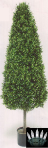 One 56 inch Artificial Boxwood Cone Wide Outdoor Topiary Tree Potted UV Plant with Christmas Lights