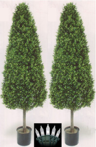 Two 56 inch Artificial Boxwood Cone Wide Outdoor Topiary Trees Potted UV Plants with Christmas Lights