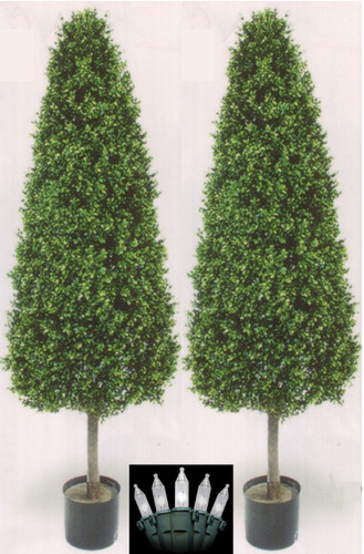 Outdoor Topiary Trees With Lights Lighted cone trees fake boxwood topiary cone boxwood two 56 inch artificial boxwood cone wide outdoor topiary trees potted uv plants with christmas lights workwithnaturefo