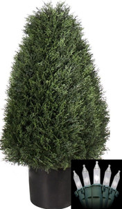 One 30 inch Artificial Cedar Cypress Wide Cone Outdoor Topiary Bush Potted UV Plant with Christmas Lights