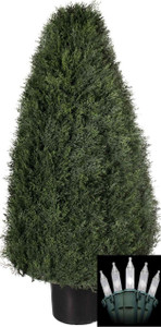 One 36 inch Outdoor Artificial Cedar Cypress Wide Cone Topiary Bush Potted UV Plant with Christmas Lights