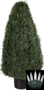 One 42 inch Outdoor Artificial Cedar Cypress Wide Cone Topiary Bush Potted UV Plant with Christmas Lights