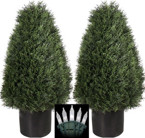 Two 30 inch Outdoor Artificial Cedar Cypress Wide Cone Topiary Bushes Potted UV Plants with Christmas Lights