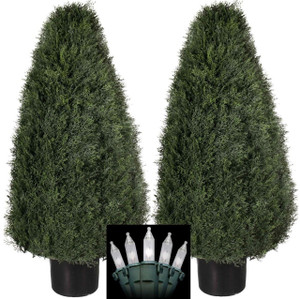 Two 36 inch Outdoor Artificial Cedar Cypress Wide Cone Outdoor Topiary Bushes Potted UV Plants with Christmas Lights