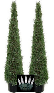 Two Artificial 5 foot Cedar Cypress Cone Tower Trees Potted with Christmas Lights