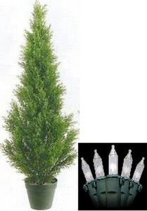 One 3 foot Outdoor Artificial Cedar Topiary Tree Potted UV Rated Plant with Lights