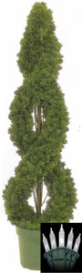 One 4 foot Outdoor Artificial Cedar Double Spiral Tree Potted UV Rated Plant with Lights