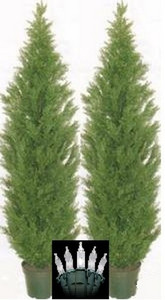 Two 6 foot Outdoor Artificial Cedar Topiary Trees Potted UV Rated Plants with Lights
