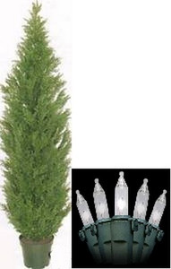 One 6 foot Outdoor Artificial Cedar Topiary Tree Potted UV Rated Plant with Lights