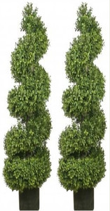 Two 56 inch Outdoor Artificial Boxwood Spiral Wide Topiary Trees Potted UV Rated Plants