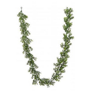 One 72 inch Long Outdoor Artificial Boxwood Garland UV Rated Plant