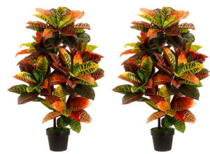 Two 3 foot Outdoor Artificial Croton Palm Trees UV Rated Potted Plants