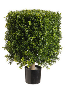 One 21 inch Outdoor Artificial Boxwood Square Rectangle Topiary Tree UV Rated Potted Plant