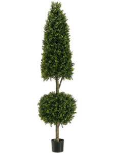 One 6 foot Outdoor Artificial Boxwood Cone and Ball Topiary Tree UV Rated Plant
