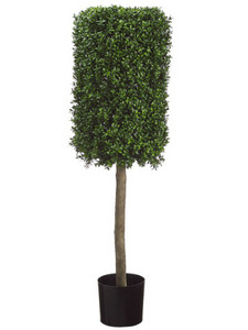 One 50 inch Outdoor Artificial Boxwood Rectangle Topiary Tree UV Rated Potted Plant