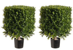 Two 21 inch Outdoor Artificial Boxwood Square Rectangle Topiary Trees UV Rated Potted Plants